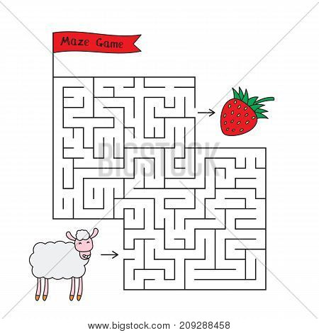 Cartoon sheep maze game. Funny game for children education