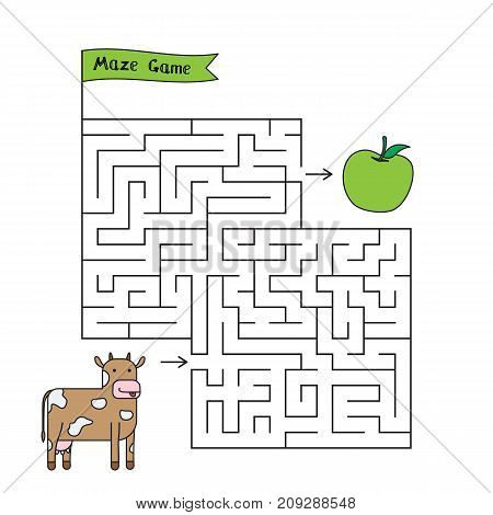 Cartoon cow maze game. Funny game for children education