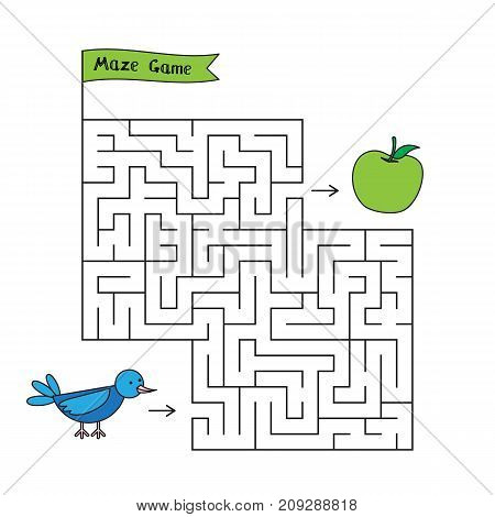 Cartoon bird maze game. Funny game for children education
