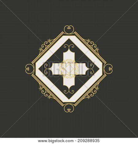Traditional asian ornament. Vector arabic rhombus geometric symbol