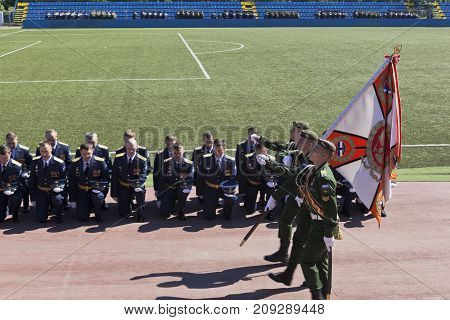 St. Petersburg, Russia - June 16, 2017: Farewell to the banner of the graduates of the Military Space Academy named after Alexander Fedorovich Mozhaisky