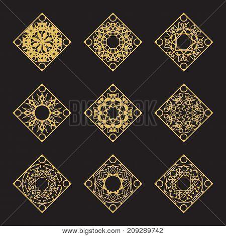 Golden arabic ornaments set. Vector rhombus emblems for luxury logos and retro ornamental design