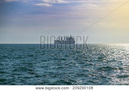 Container transport ship in the open sea