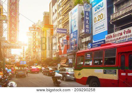 BANGKOK, THAILAND - NOVEMBER 1, 2016: Chinatown street in Bangkok Thailand