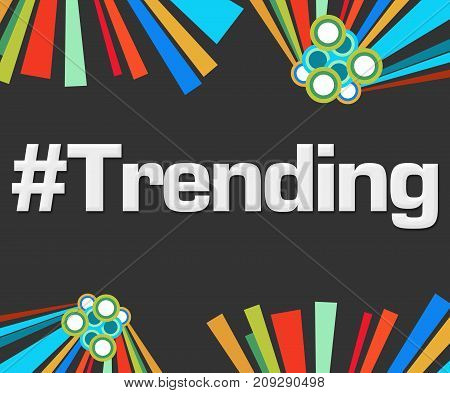 Trending text written over dark colorful background.