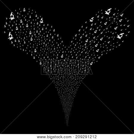 Microscope fireworks stream. Vector illustration style is flat white iconic microscope symbols on a black background. Object fountain organized from random icons.