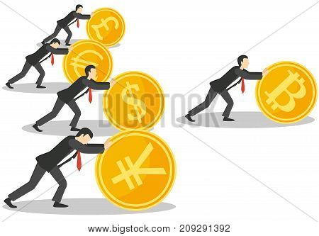 Bitcoin growth concept vector illustration. Businessmen pushing up golden coins with dollar, euro, yen, pound symbols, bitcoin is ahead of the other currencies.