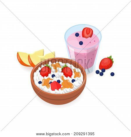 Tasty breakfast consisted of cottage cheese with fruit slices, berries, organic honey in bowl and yogurt with strawberries and blueberries in glass. Healthy morning meals. Vector illustration