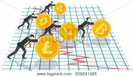 Bitcoin growth concept vector illustration. Businessmen pushing up golden coins with cryptocurrency symbols, bitcoin is ahead of the other, bitcoin growth graph.