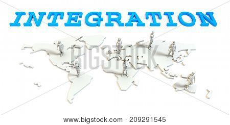 integration Global Business Abstract with People Standing on Map 3D Render