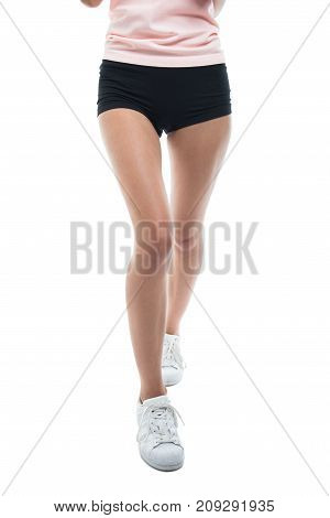 Legs Of Fit Girl Running Wearing Shorts