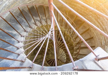 Ancient Stone Spiral Staircase In The Castle.