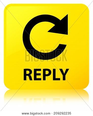 Reply (rotate Arrow Icon) Yellow Square Button