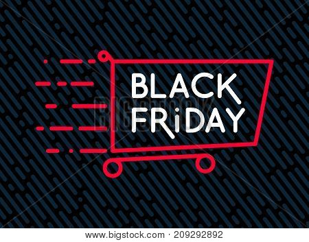 Black Friday sale inscription design template. Black Friday sale banner with shop trolley.