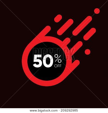 Fifty percent OFF Sale Discount Banner. Black friday sale design. Special offer red label. Flat designed Sticker Illustration isolated on white Background