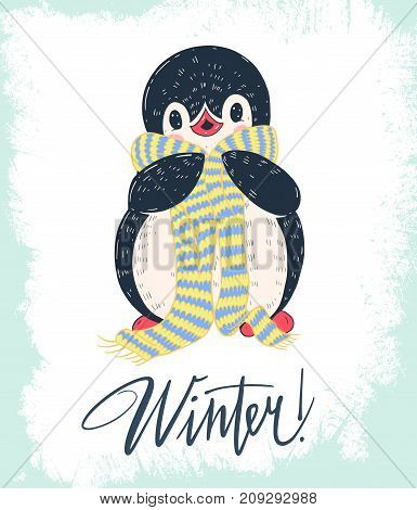 Winter illustration with funny cartoon penguinin in a warm scarf. Vector.