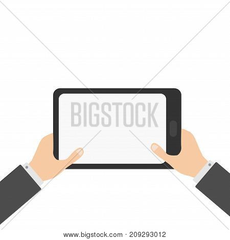 Two businessman hands holding genering tablet PC gadget. Male female teen hand and black Tab with blank screen. Empty space template for text. Flat design White background Isolated Vector illustration