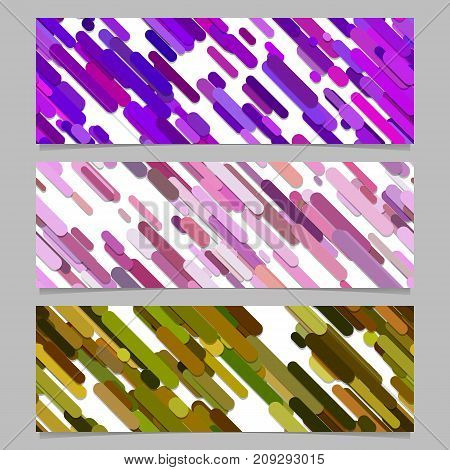 Modern seamless random diagonal stripe pattern banner background design set - horizontal rectangle vector graphics from rounded stripes in colorful tones