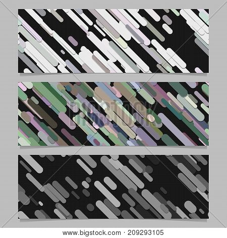 Seamless abstract random diagonal stripe pattern banner background template design set - horizontal rectangle vector graphics from rounded stripes