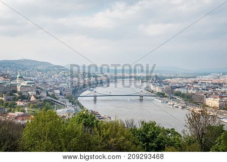 Budapest Hungary - April 2 2017 - Panoramic view of Budapest skyline from above in the afternoon