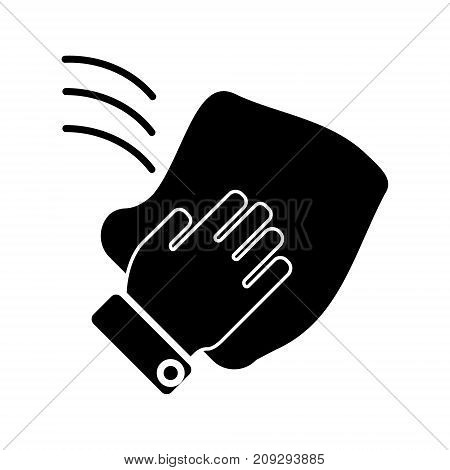 cleaning hand washcloth icon, illustration, vector sign on isolated background