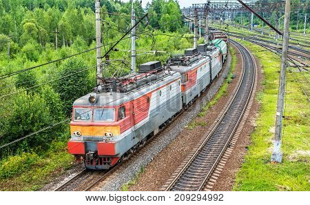 Freight train at Bekasovo-Sortirovochnoye station, by some measures the largest in Europe railway station. Moscow - Russia