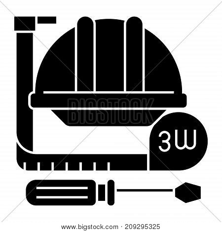 construction tools - meter, hard hat, hammer, screwdriver icon, illustration, vector sign on isolated background
