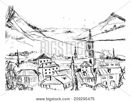 Black and white hand drawn landscape with old Georgian town, mountains and harbor. Beautiful freehand sketch with buildings and streets of small city located near sea and hills. Vector illustration