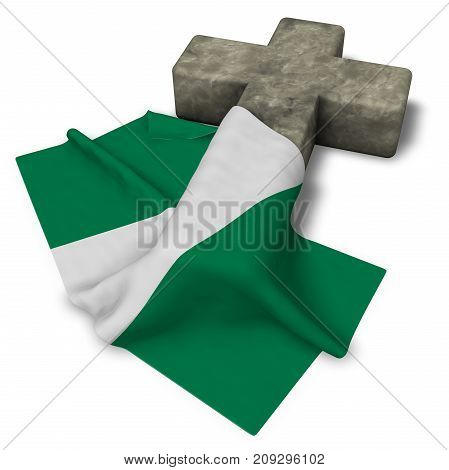 christian cross and flag of nigeria - 3d rendering