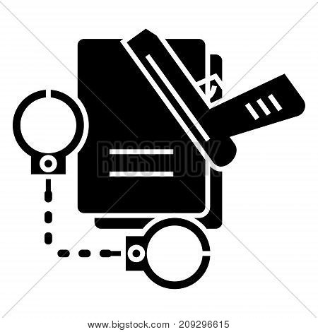 criminal law - handcuffs - docs - gun - evidence icon, illustration, vector sign on isolated background