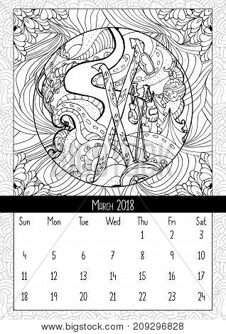 Skiing at Christmas time, calendar murch 2018. Winter sports on holidays, skiing on snowy slopes scene. Doodle coloring book pages. Vector contour monochrome illustration