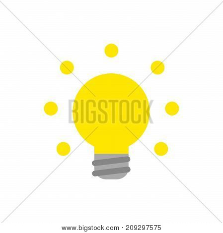 Vector Glowing Yellow Light Bulb Icon On White