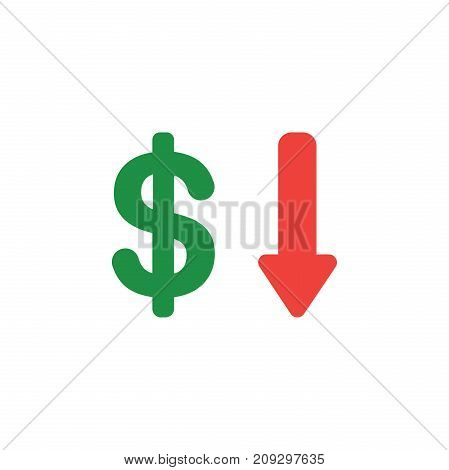 Vector Concept Of Dollar With Arrow Down Icon On White With Flat Design Style