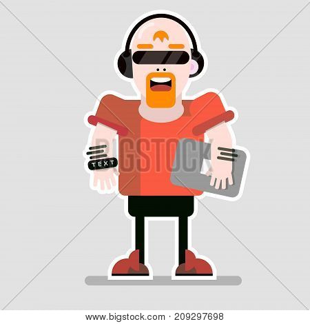 Abstract character vector illustration with the notebook