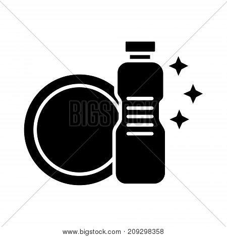 dish washing - dishwashing detergent icon, illustration, vector sign on isolated background