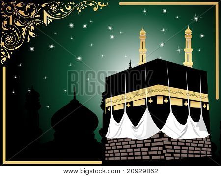 abstract green background with star, kaaba