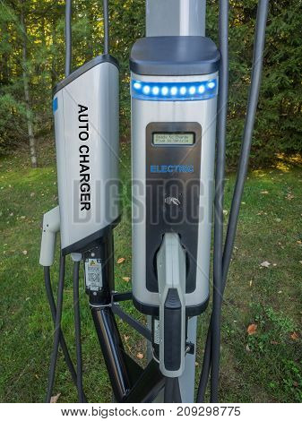 Close up of outdoor charging unit for electric cars