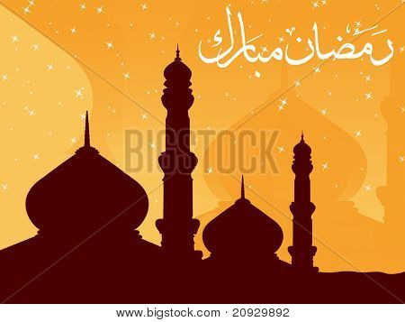 shiny star yellow background with mosque, zoha