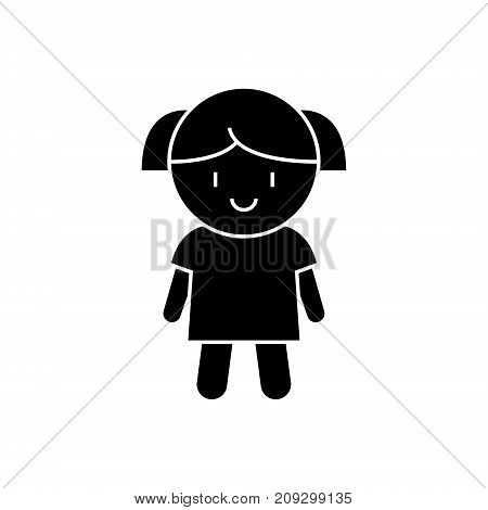 doll girl icon, illustration, vector sign on isolated background
