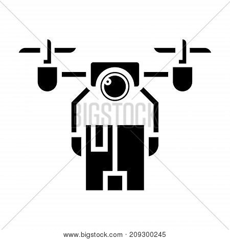 drone logistics icon, illustration, vector sign on isolated background