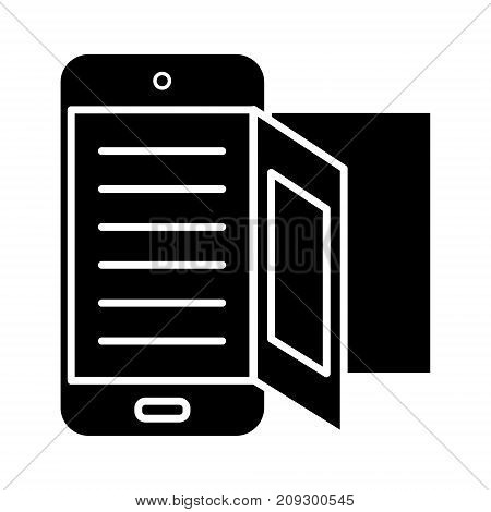 e-book - online reading icon, illustration, vector sign on isolated background
