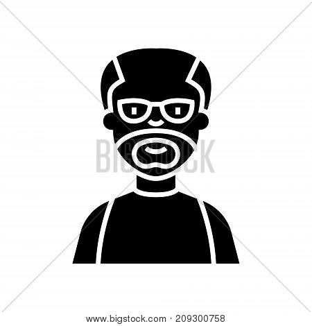 elder man - grandfather icon, illustration, vector sign on isolated background