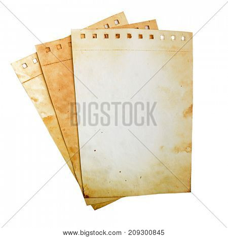 Old paper notebook pages on white. Clipping path