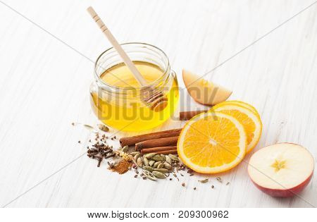 Ingredients For Mulled Wine On White Kitchen Table