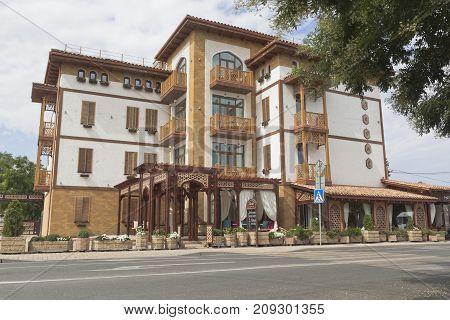 Evpatoria, Republic of Crimea - July 19, 2017: Ethno-hotel