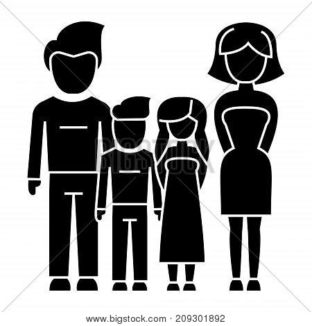 family - 4 persons - father, mother, son, daughter icon, illustration, vector sign on isolated background