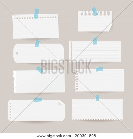 Set of various note papers. Vector illustration.