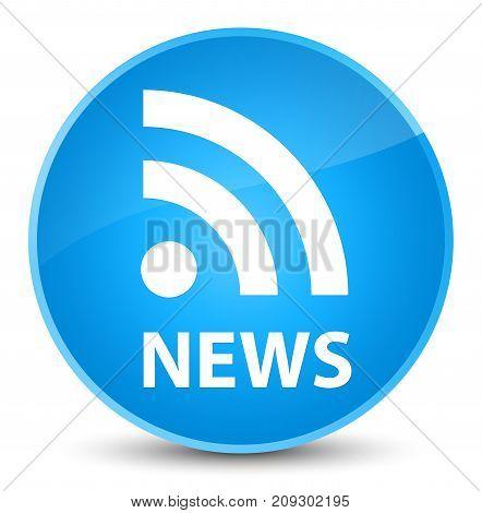 News (rss Icon) Elegant Cyan Blue Round Button