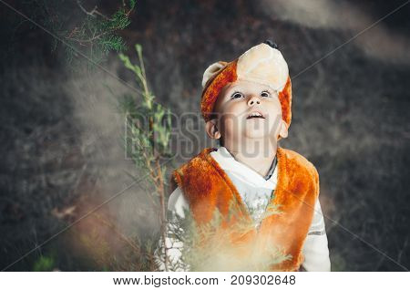Child In Bear Costume In The Woods, Growls, Screams