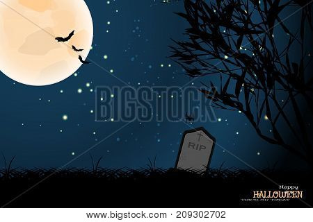 Vector wide poster for Halloween with full moon silhouettes of trees flock of bats dark grass headstones on the gradient dark blue background with stars.